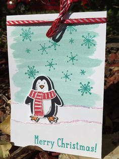 features Stampin Up's Snow Place stamp set and matching framelits from the 2015 JHoliday catalog, Snow Friends