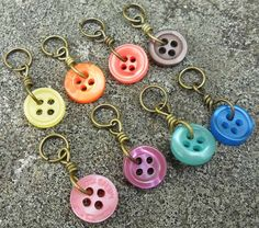 Extra Small Knitting Stitch Markers Button It set of by CalicoMiss