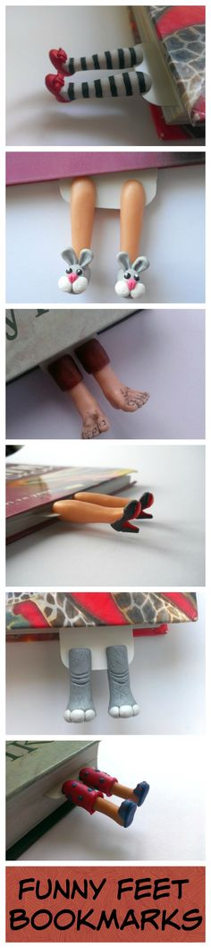 Handmade bookmarks with funny legs and feet