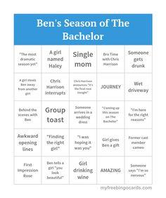 Ben's Season of The Bachelor Bingo