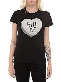 HOTTOPIC.COM - Bite Me Candy Heart Girls T-Shirt