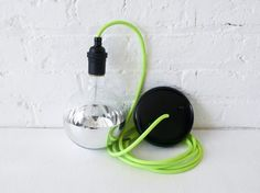 Neon Green/Yellow Pendant Light Cord w/ Giant Silver Globe Bulb. EarthSeaWarrior on Etsy Eclectic Pendant Lighting, Pendant Lamps, Pendant Lights, Green Pendant Light, Light Blue, Yellow Pendants, Clamp Lamp, Light Bulb Lamp, Lights