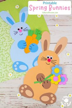 Make adorable Spring Bunny Crafts. Each cute rabbit is holding a bunch of flowers, pile of tasty carrots or a hoard of decorated Easter eggs. This is such a cute spring craft and Easter craft for kids. (Printable B/W and colour template.) #kidscraftroom #kidscrafts #eastercrafts #springcrafts #preschoolcrafts #easterbunny Spring Activities, Craft Activities, Preschool Crafts, Activity Ideas, Crafts To Make And Sell Unique, Creative Arts And Crafts, Easter Art, Easter Crafts For Kids, Easter Eggs