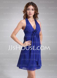 Empire Halter Short/Mini Chiffon Bridesmaid Dress With Ruffle Flower(s) (007000830)