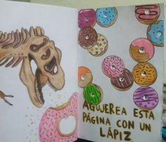 "Destroza este diario/ Wreck this journal ""poke holes"" #Dinosaur #donuts #rawr"