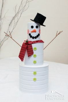 DIY Christmas Craft: Tin Can Snowman | Practically Functional