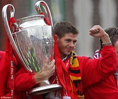 Crowning glory: Steven Gerrard with the European Cup after Liverpool's immortal comeback win against AC Milan in 2005 Liverpool Captain, Fc Liverpool, Liverpool Football Club, Women's Cycling Jersey, Cycling Art, Cycling Quotes, Cycling Jerseys, European Soccer, European Cup