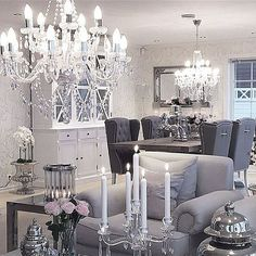 Match Your Sweet Home Glam Living Room, Living Room Decor, Living Spaces, Dining Room, Dining Chairs, Sweet Home, Home Decoracion, Elegant Homes, Home Decor Inspiration