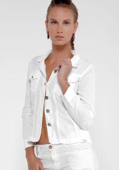 100% Linen 2 Pocket Military Jacket in White  92586c7c26ea
