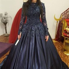 Image of Navy Blue Lace Long Sleeves Wedding Dresses Ball Gowns Indian Wedding Gowns, Indian Gowns Dresses, Ball Gown Dresses, Long Gown Dress, Wedding Dress Sleeves, Lace Dress, Wedding Dresses, Prom Dresses, Gown Wedding