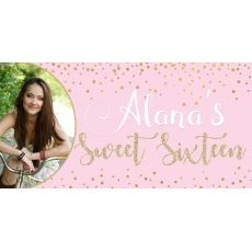 Personalized Sweet Sixteen Rose Gold Banner Add Your Photo And Personalized With Your Name All Our Banners Sweet 16 Themes Rose Gold Banner Rose Gold Theme