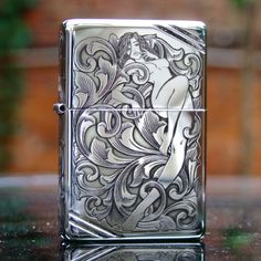 Regular Zippo Sterling Silver Arabesque and Girl Lighter