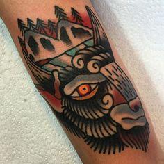 Buffalo Tattoo by Scott Moss #Buffalo #BuffaloTattoo #Bison #AmericanTraditional…