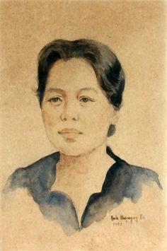 Artwork by Anita Magsaysay-Ho, Portrait of a Lady, Made of Watercolor Painting & Drawing, Watercolor, Portrait, Lady, Drawings, Artist, Artwork, Women, Pen And Wash