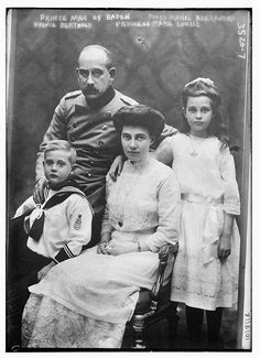 Photograph shows German prince and politician Maximilian Alexander Friedrich Wilhelm, Prince of Baden (1867-1929) with his wife Princess Marie Louise of Hanover and Cumberland (1879-1948), and their children, Princess Marie Alexandre of Baden (1902-1944) and Prince Berthold Margrave of Baden (1906-1963).
