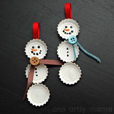 DIY Bottle Cap Snowmen