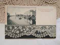 Antique, BW Italian photo-postcard, Venezian lace, Burano Venice, Mazzorbo island cca. 1910s' French Vintage, Vintage Art, Vintage World Maps, Color Ring, Photo Postcards, Etsy Shipping, Rare Antique, Old Photos, Venice