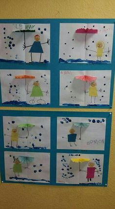 Cartão criança com guarda-chuva. Preschool Weather, Preschool Learning, Kindergarten Art, Teaching Art, Water Theme Preschool, Preschool Crafts, Spring Crafts, Projects For Kids, Crafts For Kids