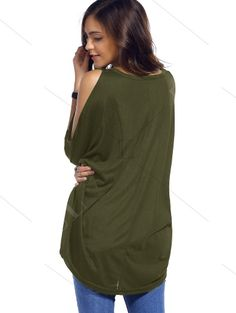 Cold Shoulder Batwing T-Shirt ARMY GREEN: Tees   ZAFUL