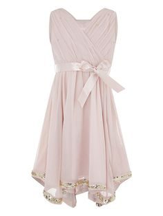 Ornamented with sparkly sequins to its hanky hem, our Elouise dress for girls will ensure she graces special occasions in style. Featuring a wrapped neckline. Girls Dresses, Flower Girl Dresses, Prom Dresses, Summer Dresses, Formal Dresses, Baby Online, Kids Online, Baby Dress, Pink Dress