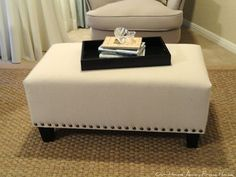 Hello, everyone!   Today I am sharing with you one of the projects we made during Spring Break.  A new ottoman for our master bedroom sit...