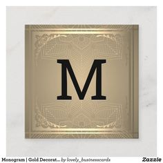 Monogram | Gold Decorative Border Square Business Square Business Card
