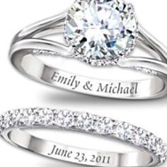 love this idea. Names on ring, date on the band.