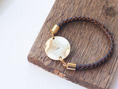 Personalized  Bracelet  Leather cord Initial bracelet by Folirin,