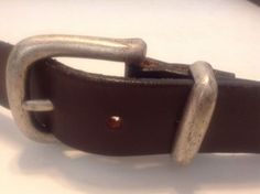 Mens Brown Genuine Leather Belt Size 42 - 44 Silver Tone Buckle Made In USA #Buckle