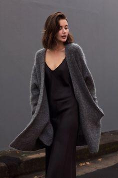black slip dress with coat