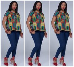 Stylish And Trendy Ankara Tops To Wear With Jeans