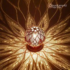 Hojas de remolino Lámparas de calabash de diseño por Gourdlamp4U