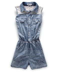 Sleeveless Snow Washed Denim Shorts Jumpsuits with Lace Panel