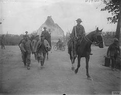 Battle of Langemarck. Three cavalry men escorting a captured machine-gun crew who were buried by a shell-explosion in a dug-out. Brielen, 19 August, 1917. Langemark was the second general attack during the Allies' Third Battle of Ypres.