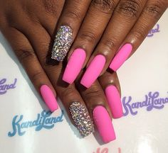 Matte Pink and diamond coffin nails