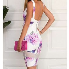 2015 Sexy Women BodyCon Floral V Neck Backless Party Evening Cocktail Mini Dress on Luulla