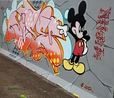 There is party this Saturday 9amEastern on Cartoons.  We have a sample on Our wall.#streetart #graffiti #UK #cartoon #Mickey #Mouse