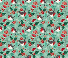 Christmas birds in snow fabric by heleen_vd_thillart on Spoonflower - custom fabric
