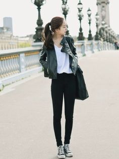 Korean Fashion Leather Spring Casual Urban Chic Outfit