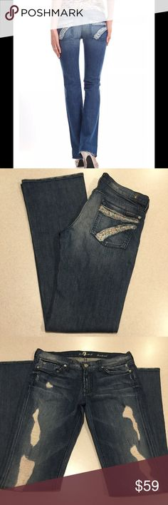 7 For All Mankind Jeans 29X34.5 Ditsy Boot Adara! 7 for all mankind jeans Size 29 34.5 long unaltered inseam (hard to find) The Bootcut ditsy destroyed Adara! Adorable dojo style 7 pockets Famous floral print destroyed 7 back pockets Vibrant blue stretch denim with medium fading and heavy distressing Perfect preowned condition, no flaws Retailed for $218.99  All of my items come from a smoke free, pet free home and are authenticity guaranteed! Please ask any questions. 16 7 For All Mankind…