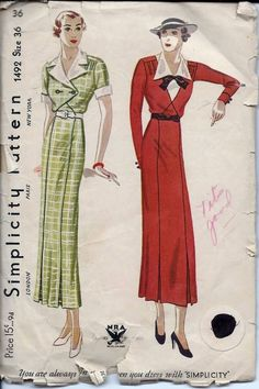 Vintage 30s 40s Simplicity Dress Sewing Pattern 1492 B36