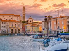 Old Town Harbour, Church of St. George,  Piran, Slovenia:  these images are part of our Free Wallpaper and Free Screensavers