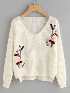 To find out about the Flower Embroidered Dip Hem Jumper at SHEIN, part of our latest Sweaters ready to shop online today! Embroidery On Clothes, Embroidered Clothes, Embroidery Fashion, Embroidered Flowers, Pullover Design, Sweater Design, Diy Clothes, Clothes For Women, Pulls