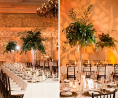 Ballroom Wedding Reception Decor with Tall, Greenery Centerpieces in Glass Vases, Bamboo Chiavari Chairs, and Candlelight | Tampa Wedding Venue Tampa Marriott Waterside
