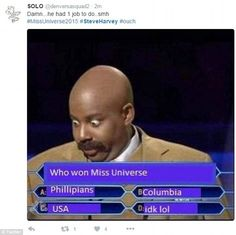 Final answer? This amusing visual gag featured Saturday Night Live's Kenan Thomson as Harvey hosting Who Wants To Be A Millionaire#steveharvey #missuniverse