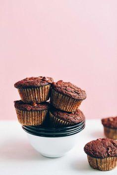 one bowl chocolate chocolate chip vegan muffins
