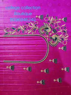 Black Blouse Designs, Kids Blouse Designs, Hand Work Blouse Design, Simple Blouse Designs, Peacock Embroidery Designs, Wedding Saree Blouse Designs, Maggam Work Designs, Aari Embroidery, Sumo