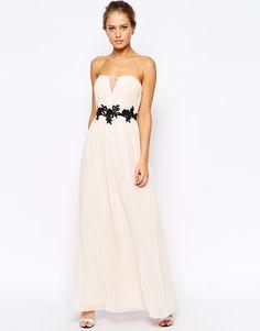 $123 Image 1 ofLittle Mistress Plunge Maxi Dress with 3D Floral Embellished Waist