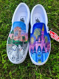 A pair of hand painted Vans. Inspired by Disney; 101 Dalmatians, Tower of Terror, Cinderella's castle. The exact pair above is only an example of what can be done, they are not for sale. However, I can recreate the design on a different pair of shoes. If you want something different, send