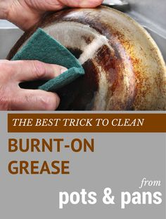 The best trick to clean burnt-on grease from pots and pans. Diy Cleaners, Household Cleaners, Cleaners Homemade, Household Cleaning Tips, Cleaning Recipes, House Cleaning Tips, Diy Cleaning Products, Cleaning Hacks, Kitchen Cleaning